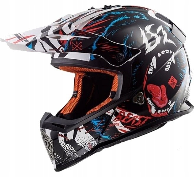 KASK LS2 MX437 FAST BEAST BLACK WHITE